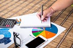 Frauenschreibensidee für Analyse-Geschäft und Finanz Lizenzfreies Stockfoto
