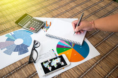 Frauenschreibensidee für Analyse-Geschäft und Finanzbericht Stockbilder