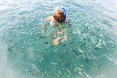 Frauenschwimmen unter tropischen Fischen Lizenzfreie Stockfotografie