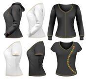 Frauenshirt-Auslegungschablone stock abbildung