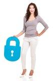 Frauensicherheitsvorhängeschloß stockbilder