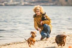 Frauenspiele mit Hunden Haustiere und Hunde, die Hunde ausbilden und erziehen Begleiter streichelt Konzept Begleiter streichelt K stockfotos