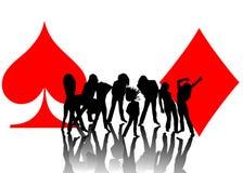 Frauenspielen und -kartensymbole Lizenzfreie Stockbilder
