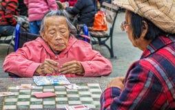 Frauenspielkarten in Park New York City Chinatown stockfotos