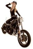 Frauenspindel-Motorradhand durch Hutstand stockbild