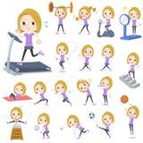 Frauensport u. -übung des blonden Haares stock abbildung