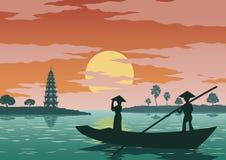 Frauenstand im Boot zu gehen, Respekt zu zahlen