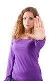 Frauenstoppschild - Frau lokalisiert auf weißem Hintergrund Lizenzfreie Stockbilder