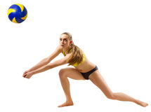 Frauenstrand-Volleyballspieler mit Ballversion Stockfotos