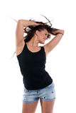 Frauentanz mit dem lockigen Haar Lizenzfreies Stockbild