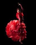 Frauentanz-Spanien-Flamenco im roten orientalischen Kostüm Stockfotos