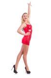 Frauentanzen im roten Kleid lokalisiert Lizenzfreie Stockfotos
