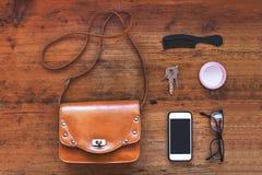 Frauentaschenmaterial Stockfotografie