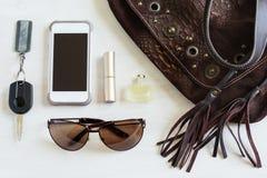 Frauentaschenmaterial, Handtasche Lizenzfreies Stockfoto