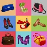 Frauentaschenschuh- und -Zubehörsammlung Stockfotografie