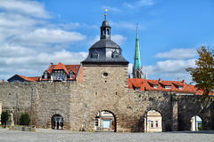 The Frauentor in Muehlhausen, Germany. The Frauentor, part of the city wall that surrounds the historic city center of Muehlhausen, Germany Stock Images
