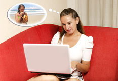 Frauenträume über ihre Ferien Stockfoto