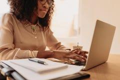 Frauenunternehmer, der vom Haus auf Laptop arbeitet lizenzfreies stockbild