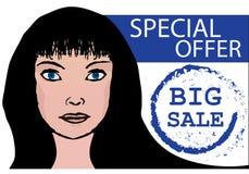 Frauenverkaufsfahne, unterzeichnen Sonderangebot Lizenzfreies Stockfoto
