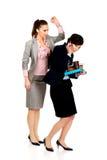 Frauenversuch, zum von Aufmerksamkeit von ihrem beschäftigten Partner zu erhalten stockfotos