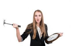 Frauenversuche, zum der Borduhrzeit zu stoppen Stockfoto