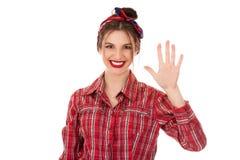 Frauenvertretungshand oben mit den Fingern nummerieren fünf stockfotos
