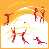 Frauenvolleyballvektor Stockfoto