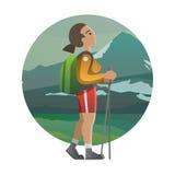Frauenwanderer Trekking, wandernd, Klettern und reisen Vektor illus Stock Abbildung
