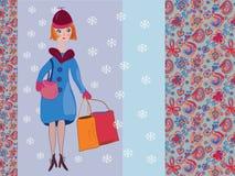 Frauenwinter-Einkaufenkarte Stockbild