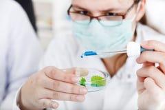 Frauenwissenschaftler, der ein Reagenzglas mit Anlage hält Stockfotografie