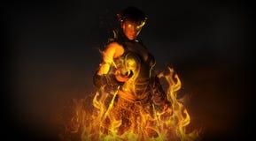 Frauenzauberer, der Feuer zusammenruft Stockbild