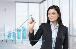 Frauenzeichnung auf einem Glasbrett ein wachsendes Balkendiagramm Panoramisches Eckbüro auf Hintergrund Lizenzfreie Stockbilder