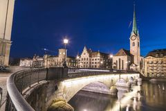 Fraumünster Church from across the Münsterbrücke in Zurich at Royalty Free Stock Photo