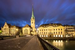 Fraumuenster Church At Night, Zurich Royalty Free Stock Photography