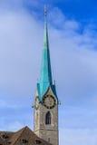 Fraumunster大教堂的钟楼在苏黎世 图库摄影