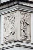 Fraumunster Church Angel Zurich Switzerland. Detail of a bas relief adornment on the facade of Fraumunster church Stock Photos