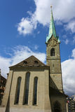 Fraumunster church with the belltower - Zurich, Switzerland. Royalty Free Stock Photography