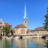Fraumunster domkyrka i Zurich, Schweiz Arkivfoto