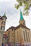 Fraumunster domkyrka Zurich Schweiz Royaltyfri Bild