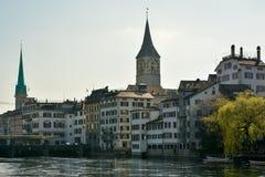 Fraumunster en St Peter kerk in Zürich Stock Foto