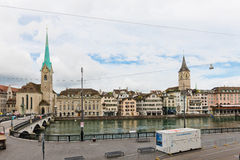 Fraumunster tower in Zurich. Fraumunster Church, from XIII centu Royalty Free Stock Photos