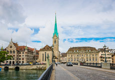 Fraumunster tower in Zurich. Fraumunster Church, from XIII centu Stock Photos