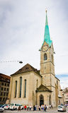 Fraumunster tower in Zurich. Fraumunster Church, from XIII centu Stock Images