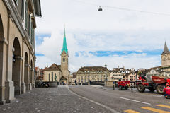 Fraumunster tower in Zurich. Fraumunster Church, from XIII centu Royalty Free Stock Photo