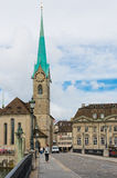 Fraumunster tower in Zurich. Fraumunster Church, from XIII centu Stock Image