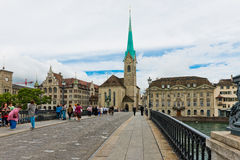 Fraumunster tower in Zurich. Fraumunster Church, from XIII centu Royalty Free Stock Image