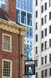 Fraunces Tavern against high rise buildings Royalty Free Stock Photography