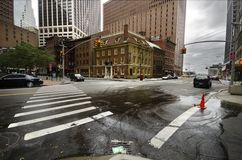 Fraunces Tavern after Irene. Wet street after hurricane Irene in New York Royalty Free Stock Image
