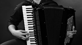 Frayed buttons of  accordion. Frayed keys of  accordion  over  dark background Stock Photography