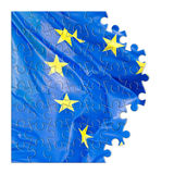 Frayed European flag - concept image in jigsaw puzzle shape Stock Photo